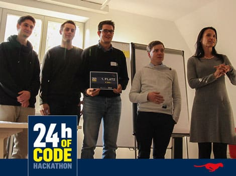 """24h of Code"" – 1.Platz: Tim Hartnack, Christoph Gertung, Jan Seifert, Felix Meyer (alle FLS)"