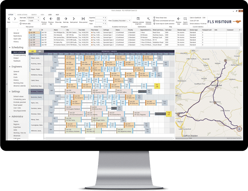 FLS VISITOUR – Screenshot Echtzeit Tourenoptimierung im Client 3.0, route optimisation software