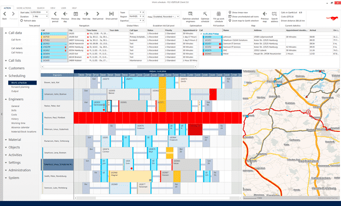 Tourenplanung Software Gantt Chart