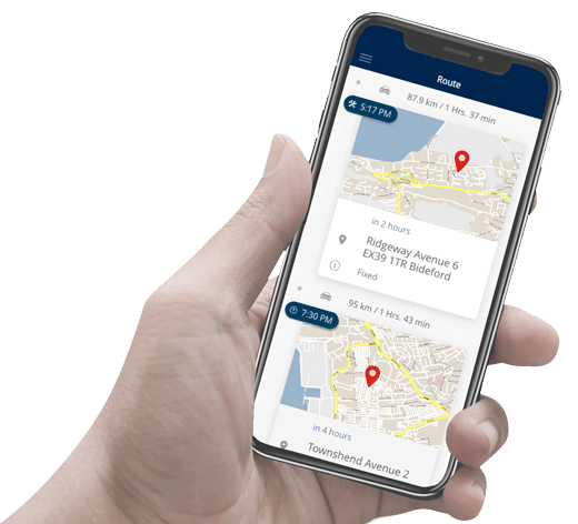 Smartphone with the Field Service Management App FLS MOBILE